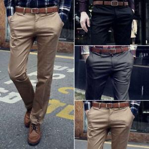 Hombre-Informal-Vestido-de-tubo-Pantalones-solido-Entallado-Pierna-Recta-Jeans
