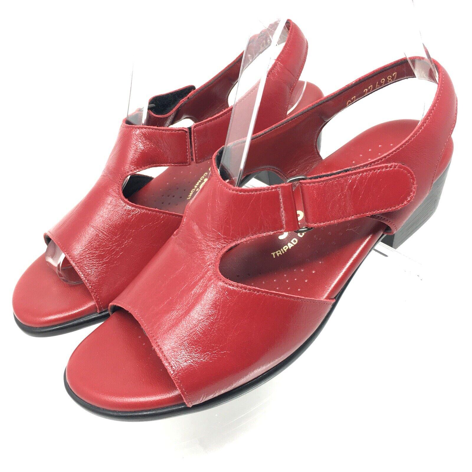 SAS Suntimer Womens Size 7.5W Red Leather Sandals SlingBack Tripad Comfort