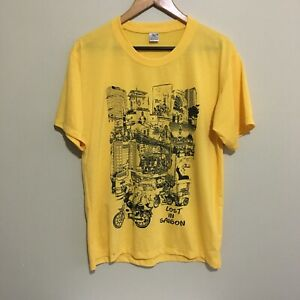 Lost-In-Saigon-Vietnam-Travel-Vintage-T-Shirt-Yellow-Mens-XL-Fits-Large