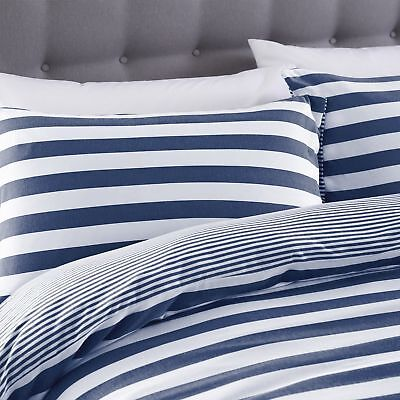 Silentnight Jersey Cotton Stripe Duvet Cover & Pillowcase Bedding Set, Navy