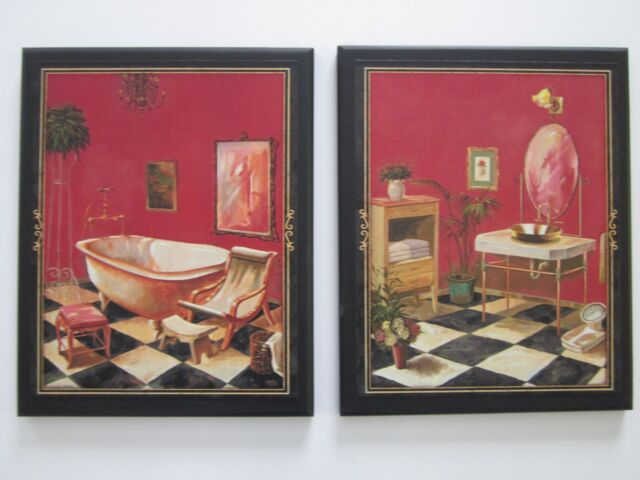 Bathroom Wall Decor Pictures 2 French Bath Victorian Bathroom Plaques Red