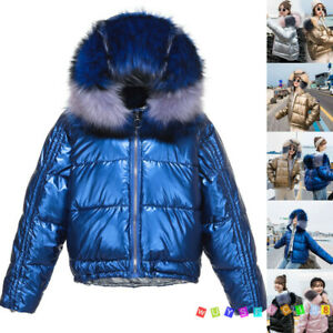 Womens-Quilted-Puffer-Short-Parka-Jacket-Fur-Hooded-Down-Shiny-Warm-Coat-Outwear