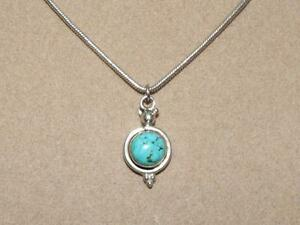 VTG-Sterling-Silver-Beaded-Bali-Style-Blue-Green-Turquoise-Pendant-Necklace-16-034