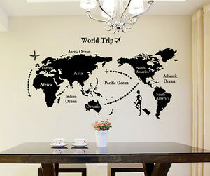 6900034 wall stickers world map home office living room ebay image is loading 6900034 wall stickers world map home office living gumiabroncs Choice Image