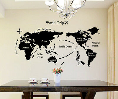 6900034 | Wall Stickers World Map Home Office Living Room