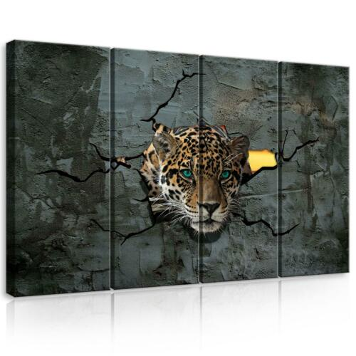 CANVAS Leinwand bilder SET XXL Jaguar Tiere Abstrakt Bild Wandbild Wohnzimmer