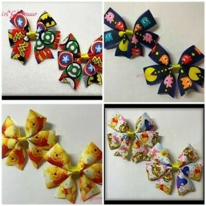 Winnie The Pooh Pacman Avengers Frozen Bow Bobbles Hair Clip Hairband Costume