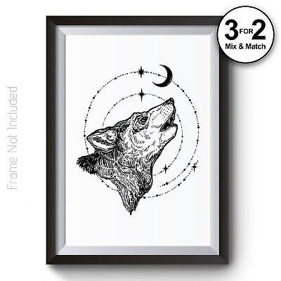 Moon /& Stars Geometric Black /& White Wolf 100/% Cotton Wall Art Print