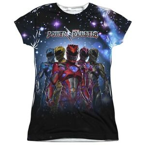 Official-Power-Rangers-Movie-Poster-Surge-Group-Team-Ladies-Jr-FRONT-T-shirt-top