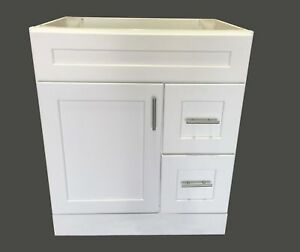 "Bathroom Vanity White Shaker Drawer 30"" W x 21"" D Single ..."