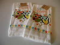 S/2 Life's A Hoot Owls Kitchen Towels Hand Tea Dish Terry Cotton Kay Dee