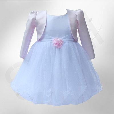 BABY GIRLS PINK WHITE BOLERO WEDDING FLOWER GIRL CHRISTENING DRESSES