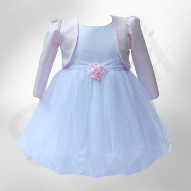 BABY GIRLS PINK WHITE BOLERO WEDDING FLOWER GIRL CHRISTENING DRESSES