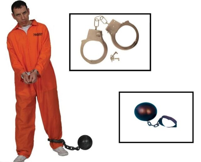 MENS STAG NIGHT ORANGE CONVICT PRISONER JUMPSUIT FANCY DRESS LOT HANDCUFFS BALL
