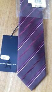 Cravate en Soie Pierre Clarence rayée en biais tons bordeaux