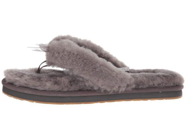 New Ugg Brand Womens Fluff Flip Flop W Bow Ribbon Slippers Shoes Grey Nib