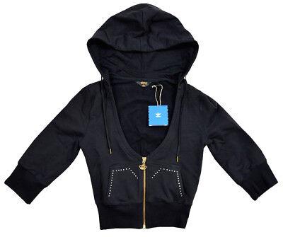 Adidas Missy Elliott Womens Rhinestone Sweat Jacket Bolero Hooded Jacket Hoodie Black | eBay
