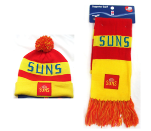 SET-OF-2-GOLD-COAST-SUNS-AFL-FOOTBALL-PATCH-BAR-SCARF-amp-PATCH-BAR-BEANIE