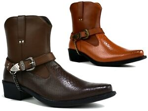 NEW-MENS-MID-HEEL-ANKLE-BOOTS-DESIGNED-POINTED-TOE-BUCKLE-MENS-BOOTS-SIZES-6-12