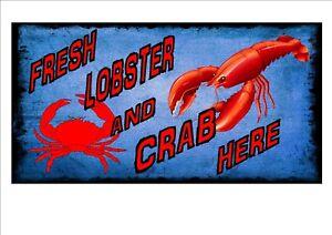 Cafe Sign Vintage Style Cafe Sign Shop Fresh Lobster /& Fresh Crab Sign Shellfish