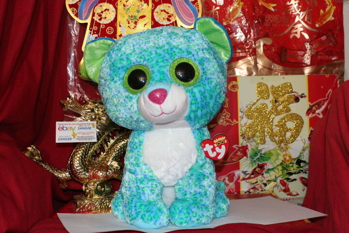 TY BEANIE BOOS JUMBO LEONA THE LEOPARD.16 .JUSTICE EXCLUSIVE.2014 RELEASE.MWNMT