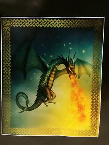 Dragon-Fly-Flight-Fire-Breath-Breathing-Stars-Soft-Fleece-Throw-Blanket-NEW