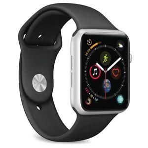 Apple Watch Series 4 44mm Silver Aluminium Black Sport Band Gps Cellular 4g Lte Ebay