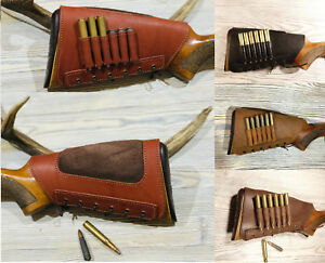 Real-Leather-Rifle-Buttstock-Cover-Butt-Stock-Holder-Cheek-Rest-Suede-Padded