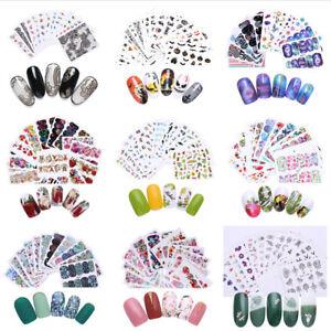 Adesivi-per-Unghie-Fiori-Decalcomanie-Nail-Art-Stickers-Decals-Transfer-Kit