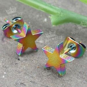 Pair-Fashion-Colorful-Star-Stainless-Steel-Women-Mens-Earring-Ear-Studs-Jewelry