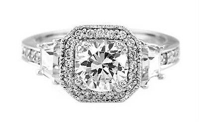 Silver Round CZ  Trapezoid Cut Stone Engagement Ring