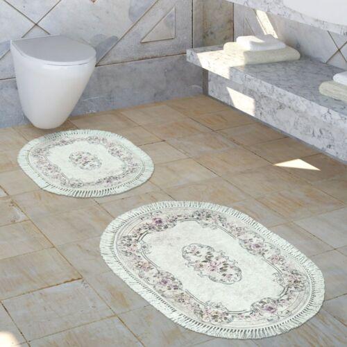 Salle de bain Tapis Set d/'ornement LAVABLE CONFORTABLE Caillebotis en vieux rose crème
