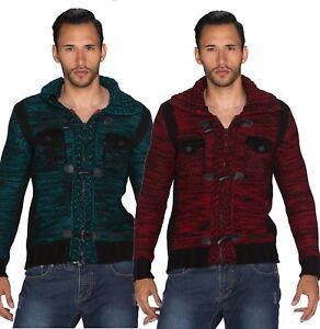 Cardigan uomo maglione pullover trama grossa nuovo cerniera alamari nuovo #