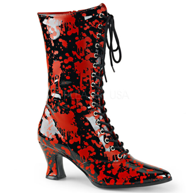 """Demonia 2.75"""" Black/Red Shiny Blood Spatter Calf Boots Nurse Zombie Cosplay 6-12"""