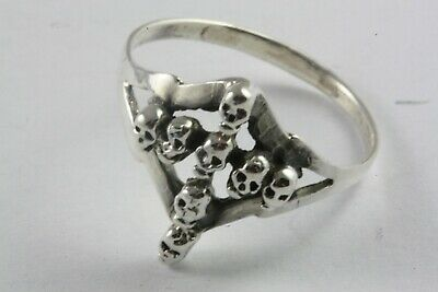Totenkopfring Biker Skull Kreuz Ring Silberring 925 Echt Silber / 570