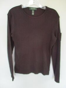 Lauren-Ralph-Lauren-Women-039-s-Size-S-100-Cotton-Solid-Black-Long-Sleeve-Blouse