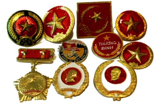 Selection of Vietnamese Vietnam Army hat badges medals and pins 10 types