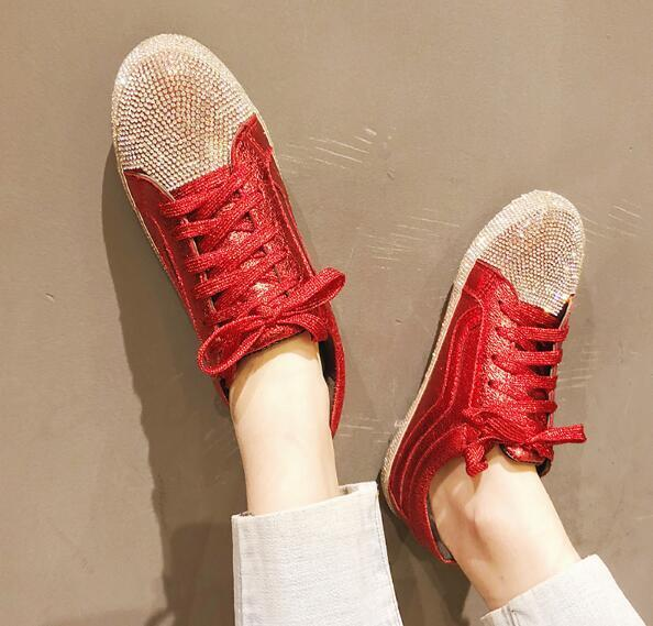 Womens Glitter Lace Up shoes  Flat Heel Sneakers Athletic Rhinestones Fashion C8