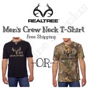 NEW-REALTREE-BUCKHORN-Men-039-s-Short-Sleeve-Camo-or-Black-Hunting-T-Shirt-VARIETY