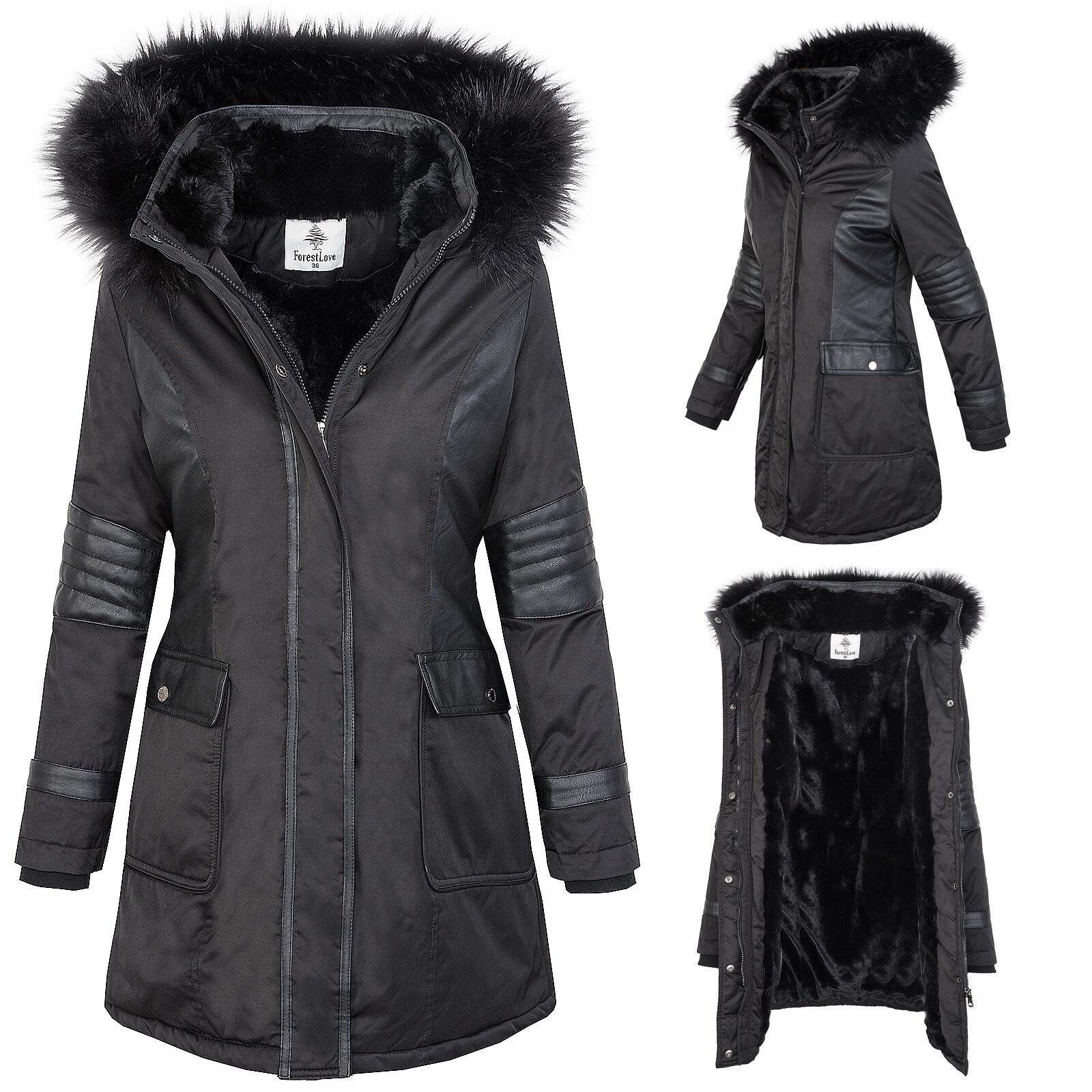 Giacca da women per Esterno a Vento Mantella Invernale Nera Foderato D-369 S-XL
