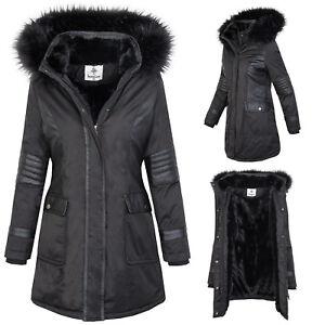 mejor selección 649a3 28cbf Detalles de Chaqueta de Mujer Exterior Abrigo Parka Invierno Negro Forrado  D-369 S-XL