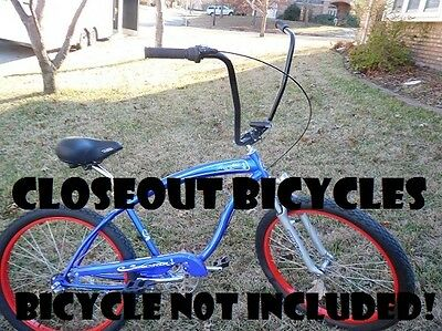 "Ape Hanger Chrome or Black 13/"" Bicycle Handlebar Lowrider//Chopper//Cruiser"