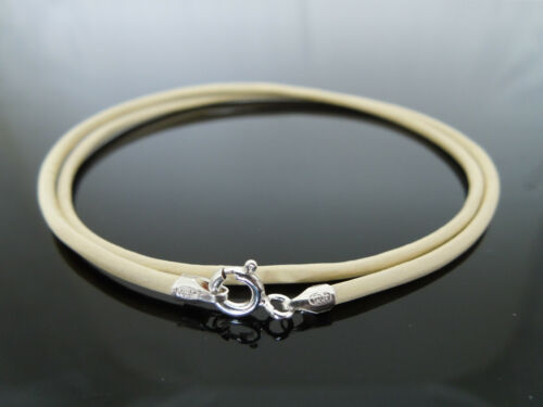 "2mm Cream Leather /& Sterling Silver Necklace Or Wristband 16/"" 18/"" 20/"" 22/"" 24/"""