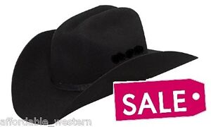 Close-Out-BLACK-Wool-FELT-HAT-Western-Cowboy-Rancher-G-Strait