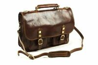 Leather Twin Buckle Briefcase Shoulder Strap Made In Tuscany