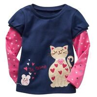 New Baby Girls kids long sleeve Cotton cat T-Shirts age 18-24 months 2 3 4 5 6Y