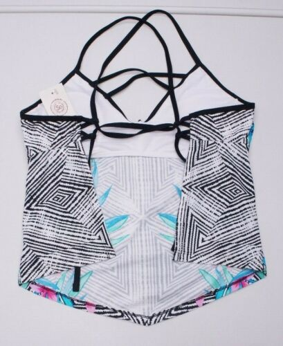 Details about  /SO Juniors Black Floral Halterkini Swim Padded Tankini Top NWTs