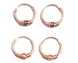 2 Pairs Small Bali Earrings Gold Plated Brass Metal Gift Jewelry For