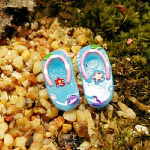 2 Pairs Miniature dollhouse Resin Slippers Home Mini Decor Fairy Garden Bonsa/_SH