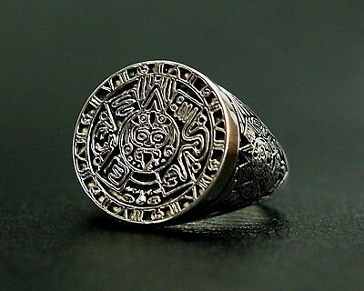 Aztec Calendar Mayan Sun Ring Mexico Men's Ring 925 Sterling Silver Size  6-15 | eBay